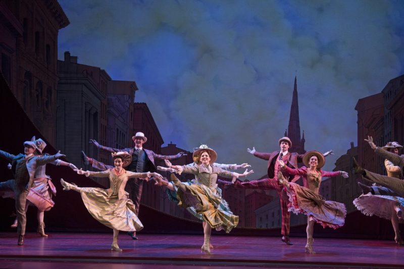 "The chorus of Hello, Dolly National Tour dance in perfect unison during the number ""Dancing."""