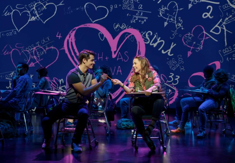 Aaron (Kyle Selig) borrows an eraser from his smitten classmant, Cady (Erika Henningsen), during math class in a scene from Mean Girls.